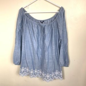 NWT NYDJ BLUE EMBROIDERED PLUS SIZE TOP SIZE 2X